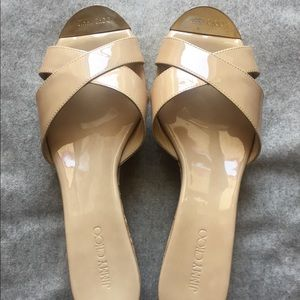 Jimmy Choo Patent Panna Wedge Nude